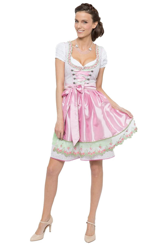 Alpenfee Damen Mini Dirndl Gresa rosa/grün D010256