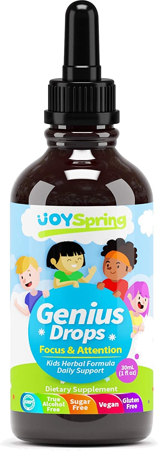 Best Natural Focus Supplement for Kids, Supports Healthy Brain Function to Improve Concentration & Attention for School, Natural Calming Supplement, Great Tasting Liquid Vitamins (4 oz)