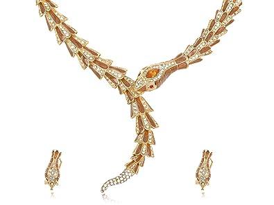 Alilang golden topaz swarovski crystal rattlesnake bites own tail alilang golden topaz swarovski crystal rattlesnake bites own tail necklace earring set aloadofball Images