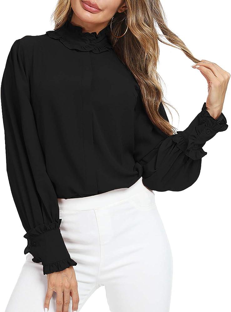 Womens Victorian Vintage Palace Half Shirt Blouse Stand-Up Ruffles Fake Collar Q