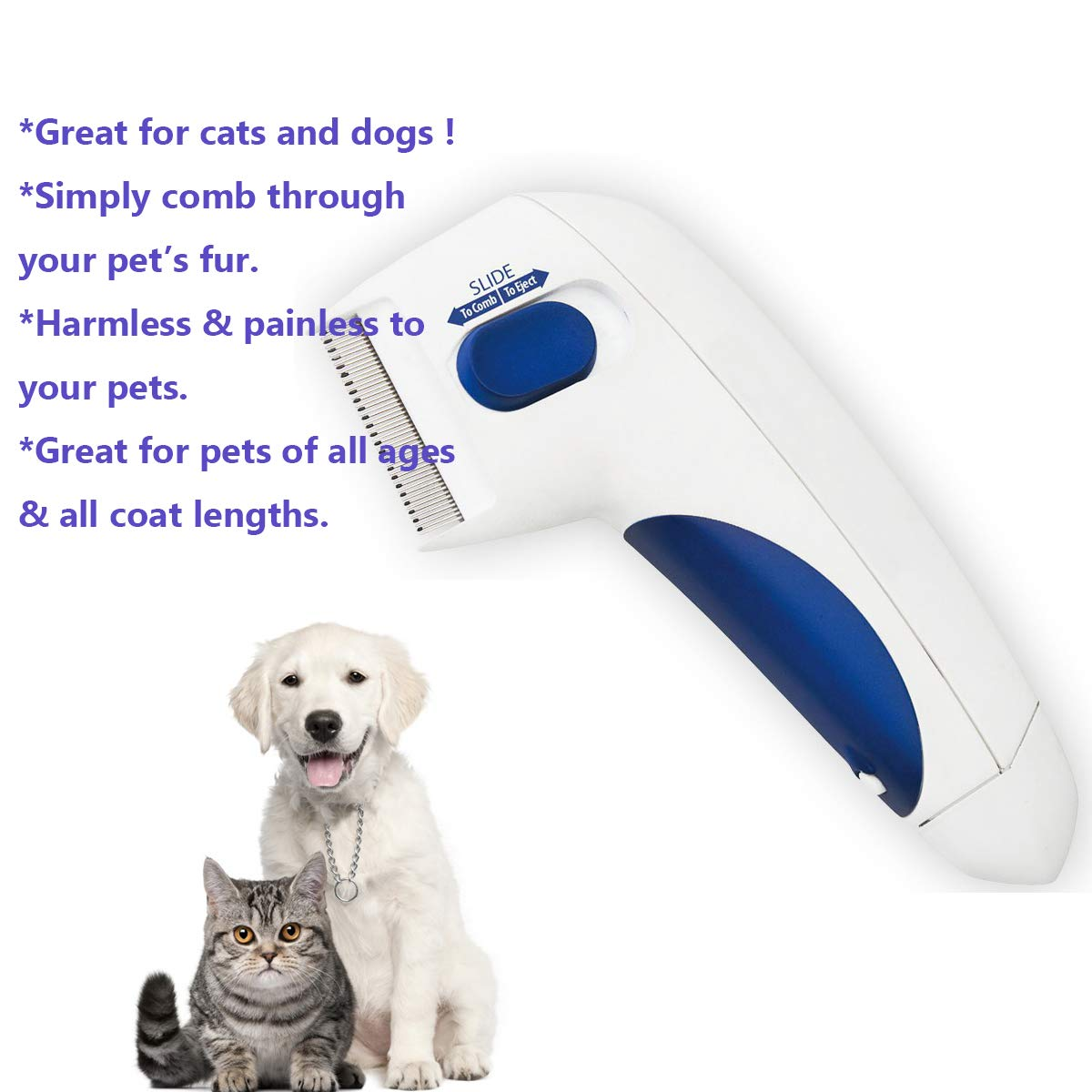 Heartbeat Electronic Flea Comb, Kills & Stuns Fleas, Perfect Pet Flea and Tick Comb Tool, Great for Dogs & Cats by Heartbeat (Image #3)