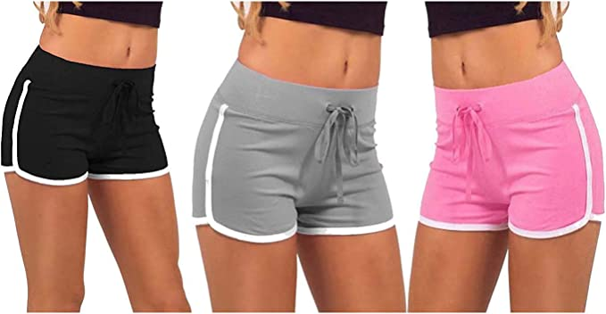 We2 Cotton Yoga Shorts for Women (Pack of 3)