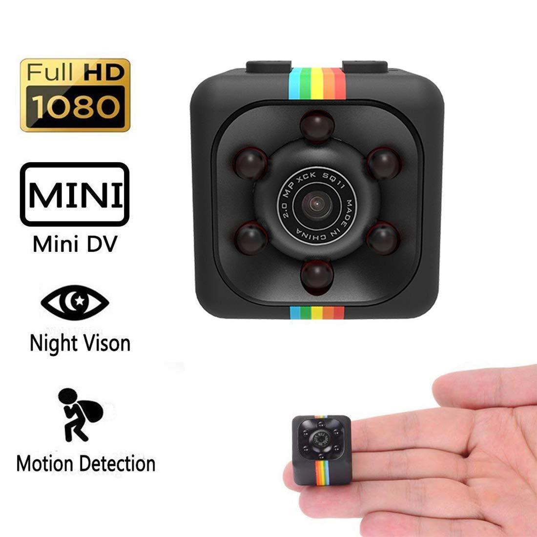 YOMYM Caméra Cachée 1080P Mini Caméra Espion Portable HD Nanny avec Vision Nocturne et Détection de Mouvement pour Caméra de Surveillance de Sécurité Intérieure/Extérieure (Noir-02)