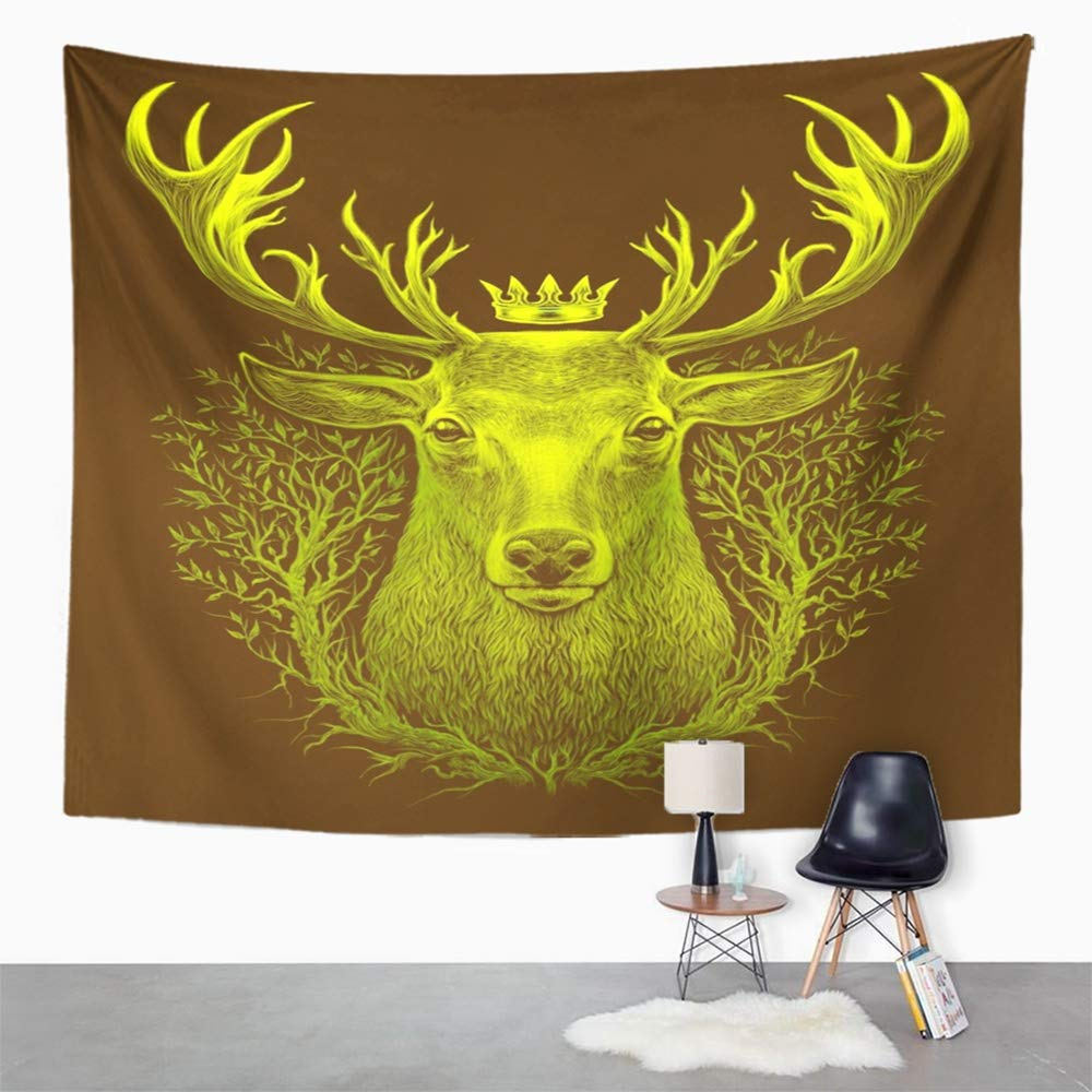 Amazon.com: Emvency Tapestry Wall Hanging Colorful Abstract Deer ...