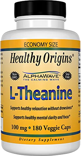 Healthy Origins L-Theanine AlphaWave 100 mg, 180 Veggie Caps