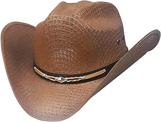 49f61156365 Modestone Unisex Straw Chapeaux Cowboy Leather-Like Hatband Brown ...