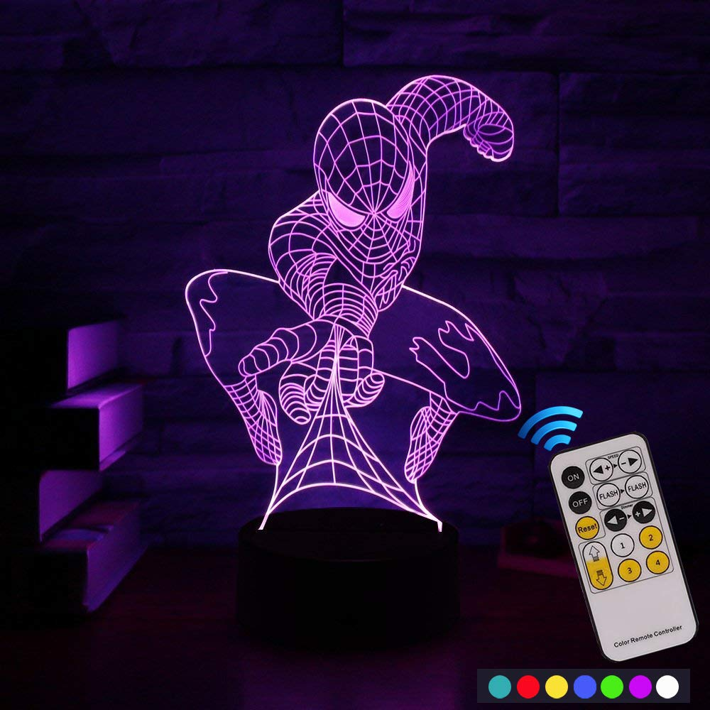 Carryfly Spiderman Night Light Kids Night Light Optical Illusion 7 Colors Change with Remote Birthday Gifts for Baby Amazing Light (Spiderman)