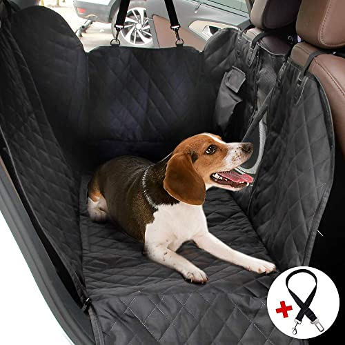 NPET Pet Car Seat Cover Protector with Side Flaps 100 Waterproof 600D Heavy Duty Scratch Proof Non Slip Backing Hammock Quilted Padded Durable Dog Seat Covers for Trucks,Cars and SUVs