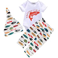 Blaward Neugeborenes Baby Kleidung Daddy's Fishing Buddy Gedruckte Strampler Baby Shark Hose 3er Sommer Outfit Sets