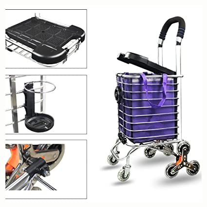 Fkdebag Carrito de Compras Carro para escaleras de Escalada Carrito de Compras Trolley Aleación de Aluminio