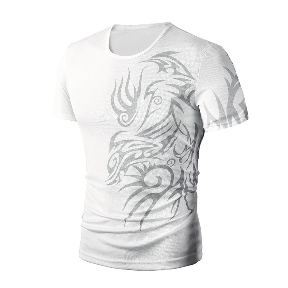 PASATO Men Summer Round Neck Tee Printing Men's Short-Sleeved T-Shirt Top Blouse(White,M=US:S)