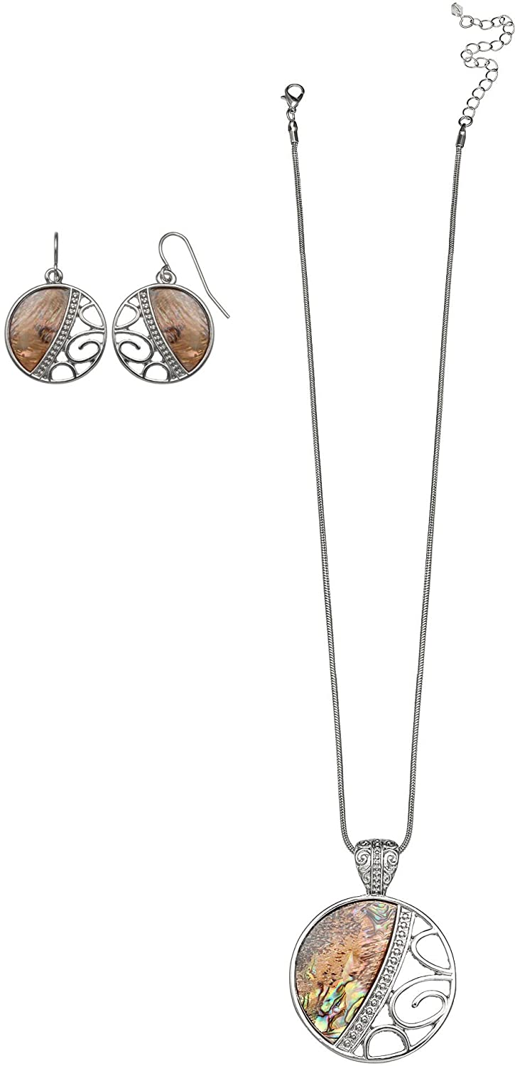 new Paradise Shores Abalone Filigree Necklace & Earrings Set One Size Natural brown/silver tone big discount