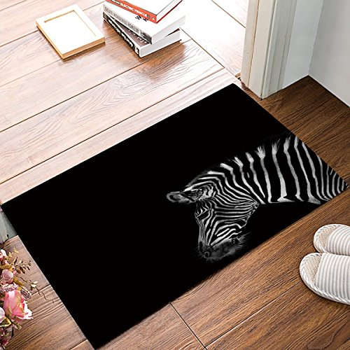 (Crystal Emotion Black and White Zebra Entrance Shoe Scrap Washable Apartment Office Floor Mats Front Doormats 18 x 30 inch)