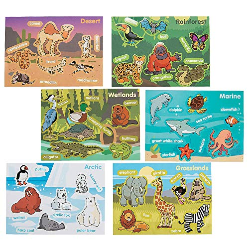 Kicko Make an Animal Habitat Sticker Scene - Set of 24 Zoological Sticker for Birthday Party, Goody Bags, School Activity, Group Projects, Room Decor, Arts and -