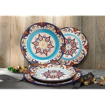 Stoneware Plate Accent Dinnerware Plates 4 Piece Vintage Embossed Hand Painted Christmas Gifts  sc 1 st  Amazon.com & Amazon.com   Stoneware Plate Accent Dinnerware Plates 4 Piece ...