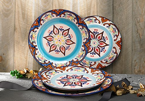 Stoneware Plate Accent Dinnerware Plates 4 Piece, Vintage Embossed Hand Painted, Christmas Gifts