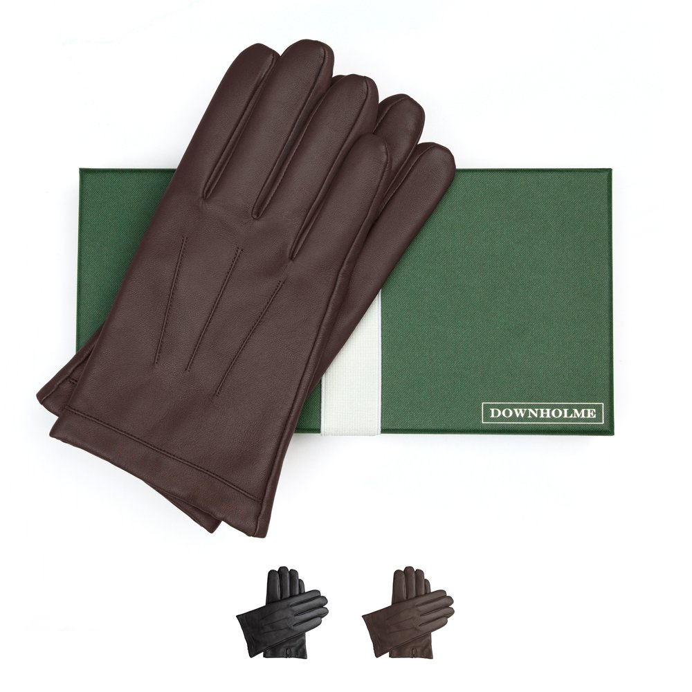 Downholme Touchscreen Leather Cashmere Lined Gloves for Men (Brown, XXL)