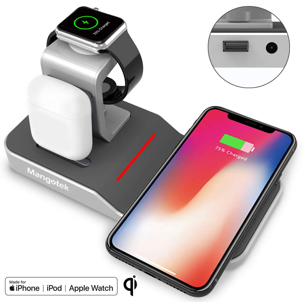 Mangotek Watch Stand Wireless Charger for Apple iPhone Airpods iWatch, 4 in 1 Phone Charging Station with Lightning Connector and USB Port for iPhone 8/X/XR/7/6 and iWatch Series 4/3/2/1, MFi, Silver