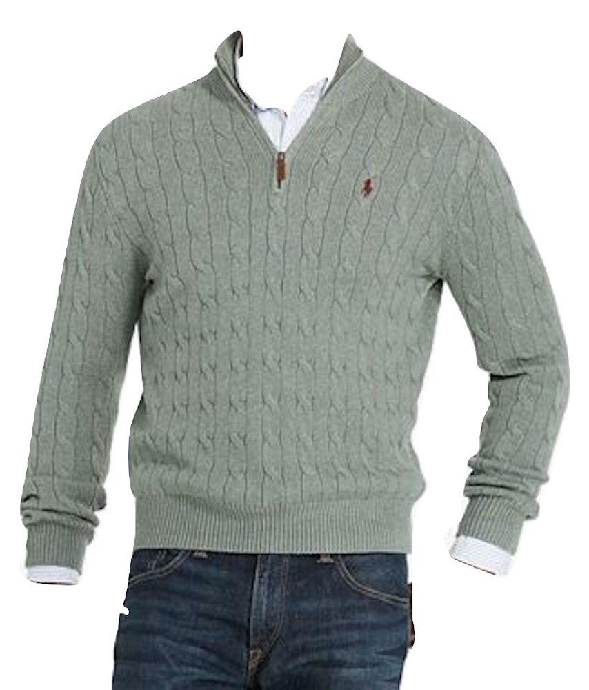 Polo Ralph Lauren Mens Mock Neck Cable Knit Sweater (2XL, Green)
