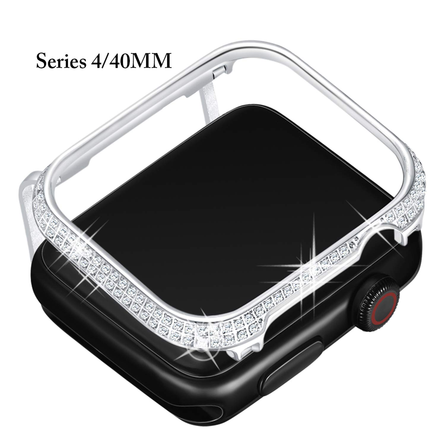 Callancity 40mm Metal Face Cover Plated Platinum Rhinestone White Crystal Diamond Protective Frame Compatible with Apple Watch Series 4 for Men/Women (40MM Platinum)