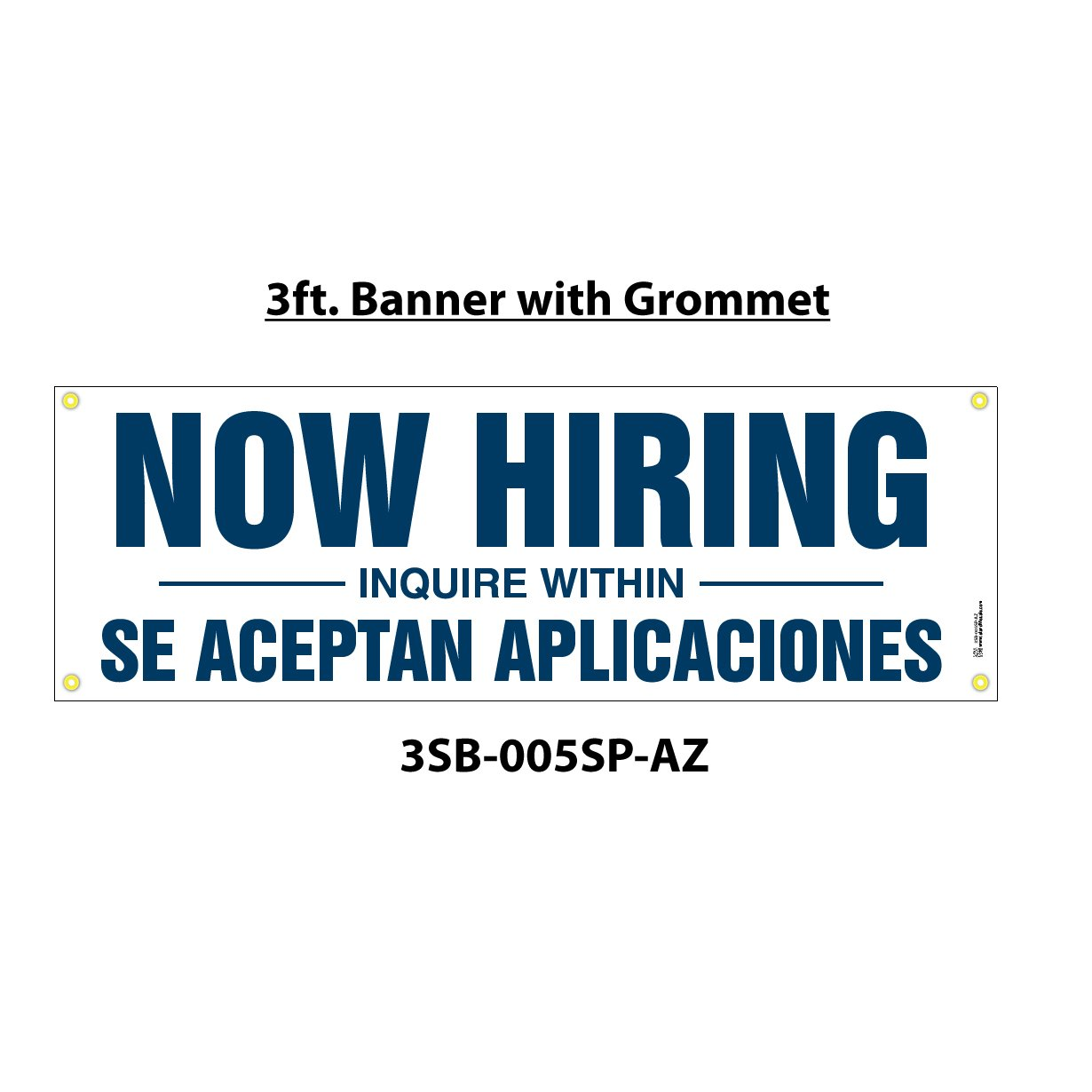 """Now Hiring - Inquire Within"" and Spanish Translation of ""Se Aceptan Aplicaciones"" Sign - 6' X 2' Banner"