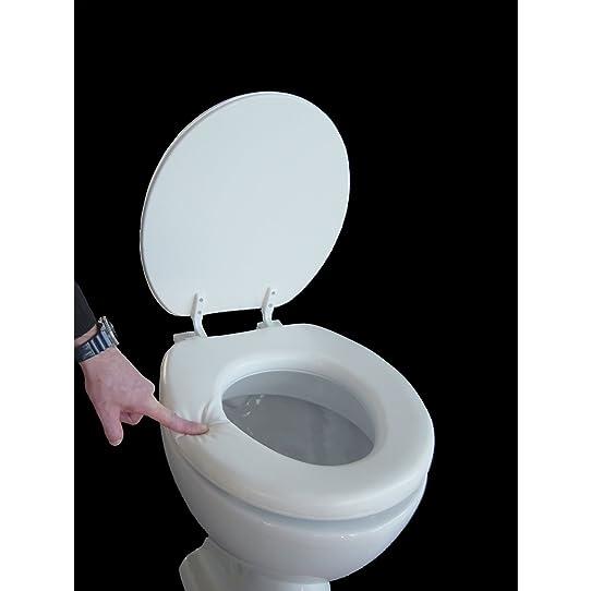Siège de toilette rembourré couleur blanc: Amazon.fr: Bricolage