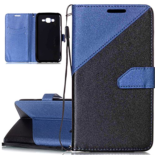 For Samsung Galaxy J7 2015 Case [Shock-Absorption]- ISAKEN Frosted Splicing PU Leather Case Magnetic Folder Card Holders Pouch, Bookstyle Wallet Case Stand Function Cover, Black Blue