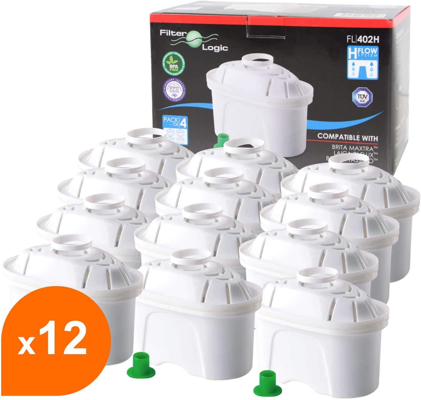 FilterLogic FL402H - 12 unidades - cartucho de filtro compatible con BRITA Maxtra para Elemaris / Marella / Navelia / Fun - Bosch Siemens Tassimo jarra filtrante - 100486 1009696: Amazon.es: Hogar