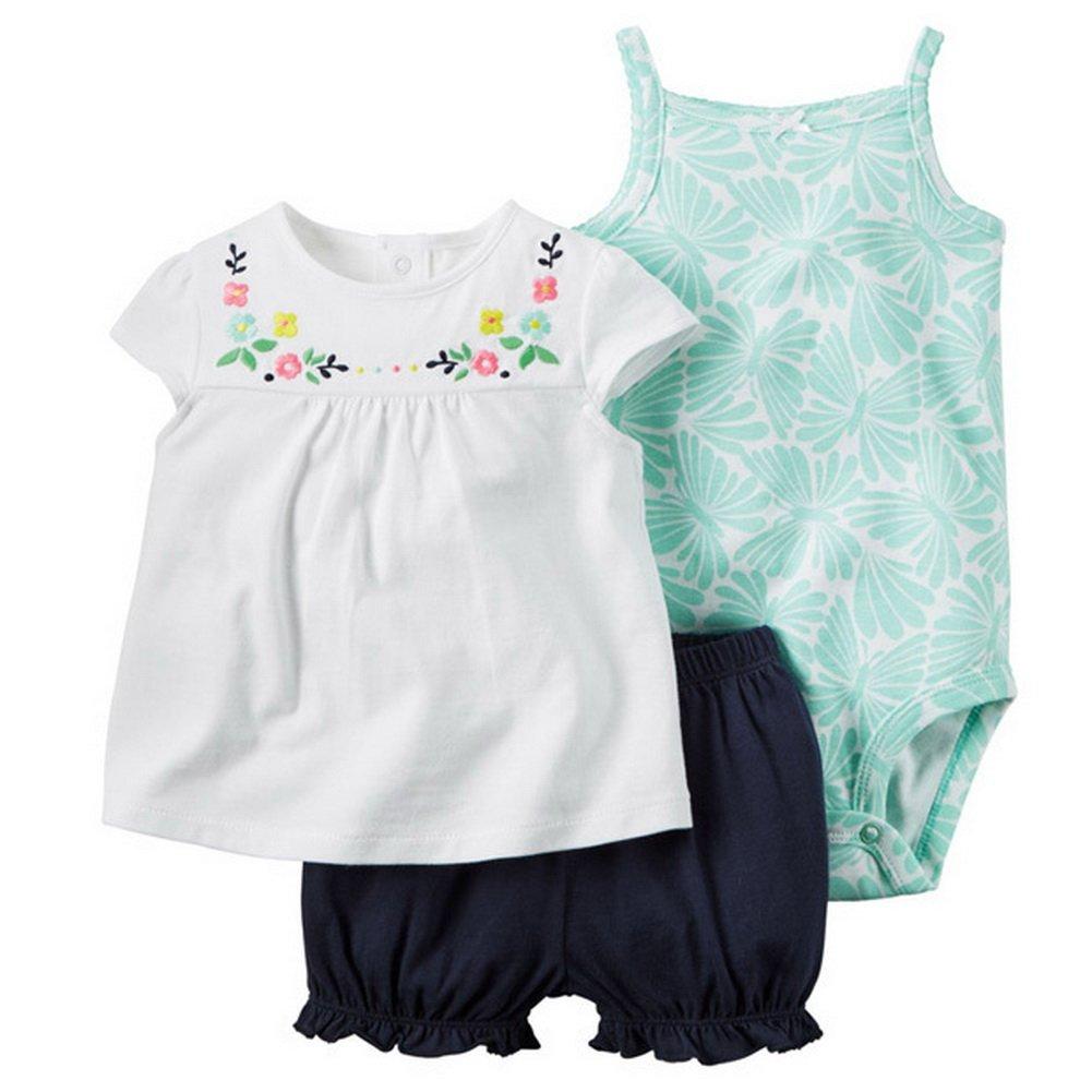 ARAUS Neonata Bimba Bambina Completini e Coordinati di Cotone Magliette a Manica Corta Estiva a Fiore con Pantaloncini e Pagliaccetti 3 Pezzi 0-24 Mesi 5040P10