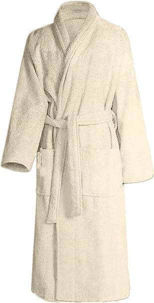 Albornoz, 100 % algodón mullido y suave, albornoz para sauna beige ...