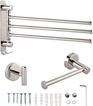 Artilife 3pack Bathroom Hardware Set Sus304 Stainless Steel Bathroom Hardware Accessories Sets Wall Mounted Include 3 Arms Swivel Towel Bar Bath Towel Hook And Toilet Paper Holder Towel Bars Amazon Canada