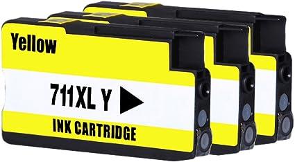 bosumon Compatible cartucho de tinta para HP 711 711 x l sustituir para HP DesignJet T120 HP Designjet T520 serie, indicador de nivel de tinta, color 3 Yellow: Amazon.es: Oficina y papelería
