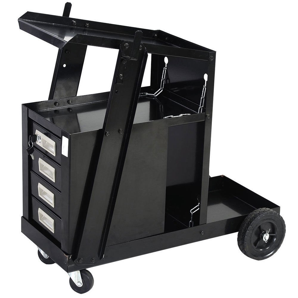 New Black Welding Welder Cart Plasma Cutter Tank Storage MIG TIG ARC 4 Drawer Cabinet