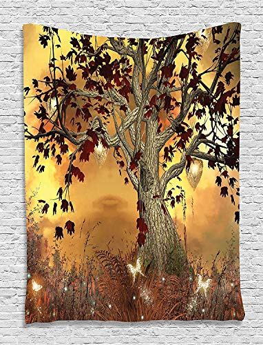 Tapestry Wall Hanging, Vintage Old Twisted Tree Fairy Scene Butterflies Wings Enchanted Forest Nature Fantasy Mystic Wonderland Bedroom Living Room Dorm Accessories Wall Hanging Tapestry, 60x90 Inches