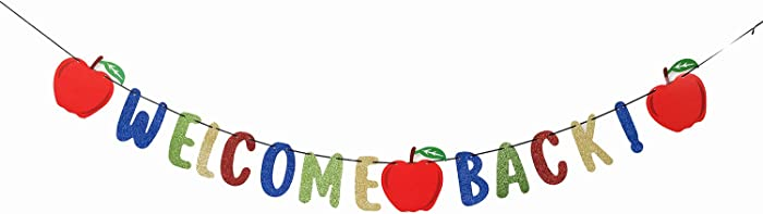 Welcome Back Kids Back to School Theme Party Apple Garland Banner First Day New Grade of Class Pennant Ideas Photo Props Decoration Supplies