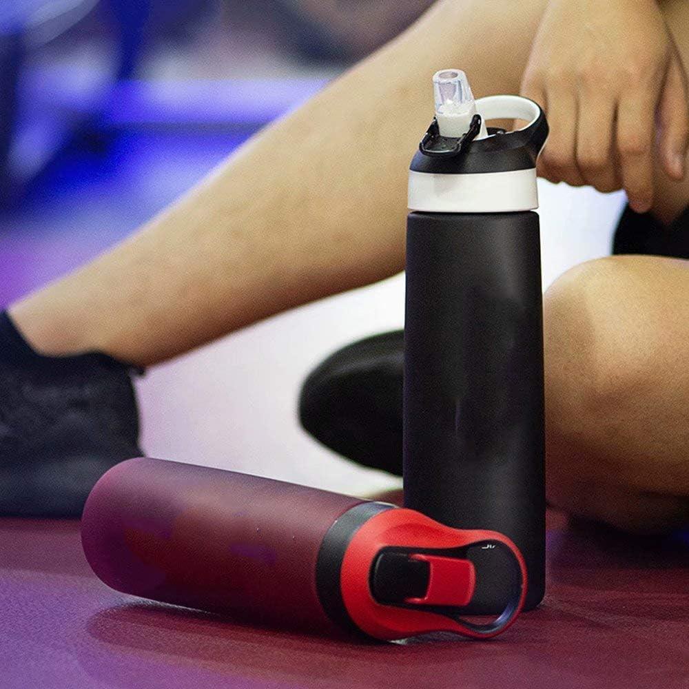 QSs-Ⓡ Wasserflasche mit Stroh 1 Liter Flaschen Sport Radfahren Laufen 1L Large 1000ML / Bpa Kostenlose Plastik-Trinkflasche Reisebecher Wasserflasche A2
