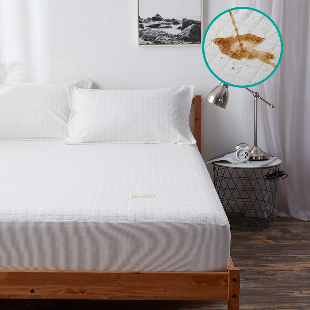 SAKIAO Bedding Premium Queen Size Mattress Protector 100% Waterproof Hypoallergenic Mattress Pad Cover Breathable Fitted 8''-21'' Deep Pocket