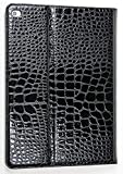 iPad Pro 9.7 Case, YogaCase Crocodile Folio Flip Alligator Reptile Pattern Leather Premium Luxury Protective Stand Cover (Black)