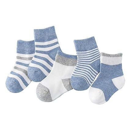 Lymocha 5 Pares Espesar Calcetines de Algodón Animal para Niños, Calcetines Infantiles y Bbebé de