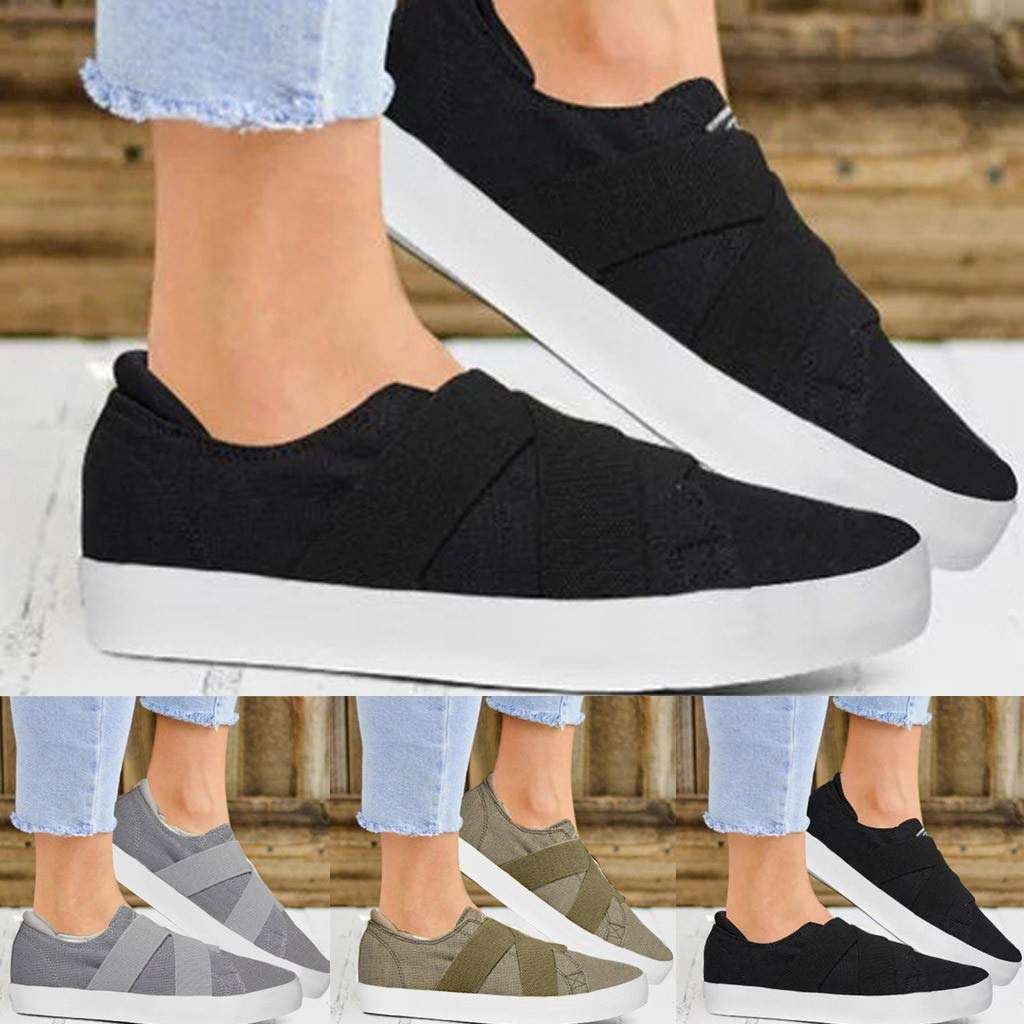 Sunsee-Women Shoes Womens Summer Canvas Flat Running Shoes Summer Beach Shoes Casual Single Shoes (41/US 8, Black) by WOMEN SHOES BIG PROMOTION-SUNSEE (Image #3)