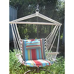 Backyard Expressions 914978 Hammock Swing Chair, Orange/Blue Stripe