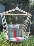 Backyard Expressions 914978 Hammock Swing Chair, Orange/Blue Stripe