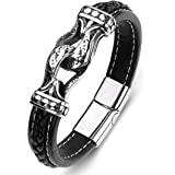 ZiMOJiE Braided Genuine Leather Bracelet for Mens Bangle Bracelets Fashion Stainless Steel Magnetic Clasp