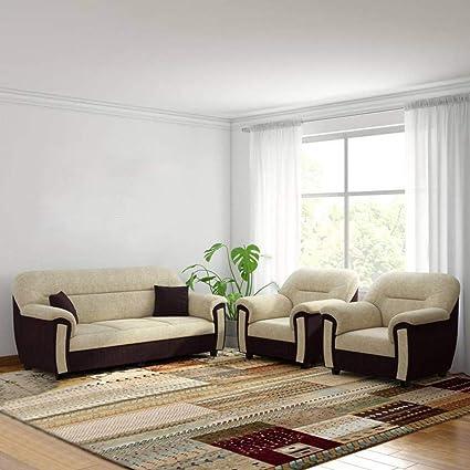 Torque Ruben 5 Seater Fabric Sofa Set For Living Room 3 1 1 Set Cream Brown Amazon In Home Kitchen