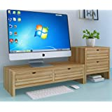 Set 2 Wood Monitor Stand W/4 Storage Organizer Drawers, 2 Tier Monitor Stand Riser For Laptop Computer/TV/PC Base, Laptop Riser Computer Desk With Drawers (Color : Natural)