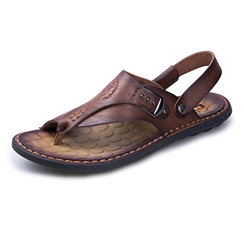 da15334d7b37b3 Ju-sheng Mens flip Flop Sandals Casual Thong Flip Flops Shoes PU Leather Beach  Slippers Non-Slip Handwork Soft Flat Sandals Adjustable Backless  ...