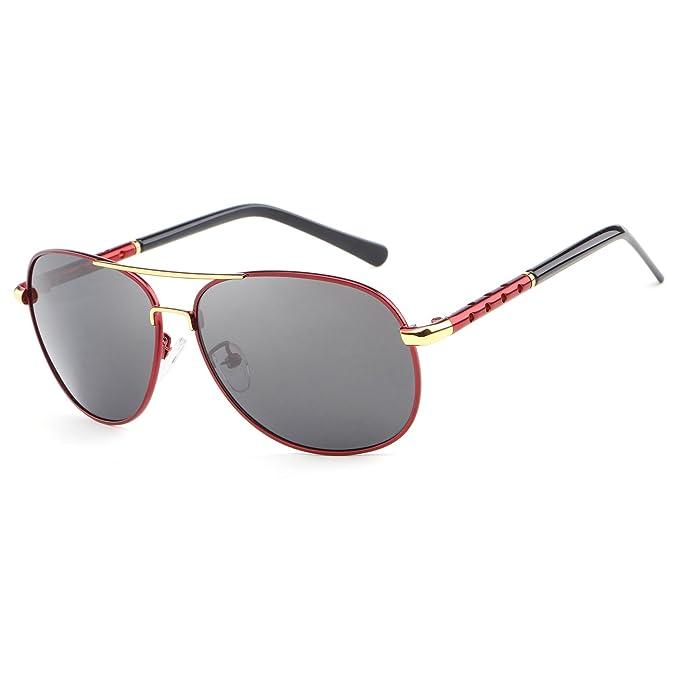 hdcrafter 2017 gafas de sol de aviador de protección UV400 polarizadas, para hombre marrón marrón: Amazon.es: Ropa y accesorios