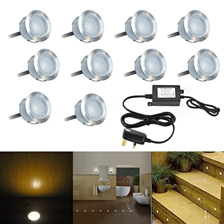 Pack of 10 30mm warm white decking lights kitchen plinth lights outdoor waterproof 12v round frosted