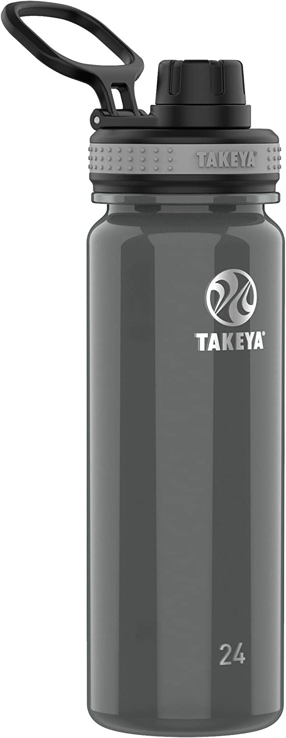 Takeya 24 oz Tritan Plastic BPA-Free Bottle with Spout Lid, Black