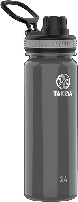 Takeya 24 oz Tritan Plastic BPA-Free Bottle with Spout Lid, Black